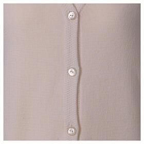 Rebeca monja blanco cuello V bolsillos punto unido 50% acrílico 50% lana merina In Primis s5