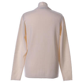 Rebeca monja blanco cuello V bolsillos punto unido 50% acrílico 50% lana merina In Primis s6