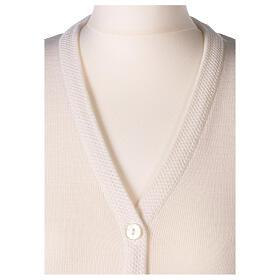 Rebeca monja blanco cuello V bolsillos punto unido 50% acrílico 50% lana merina In Primis s8