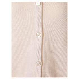 Rebeca monja blanco cuello V bolsillos punto unido 50% acrílico 50% lana merina In Primis s10