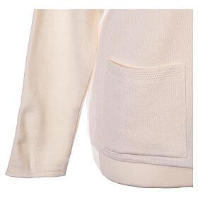 Rebeca monja blanco cuello V bolsillos punto unido 50% acrílico 50% lana merina In Primis s11
