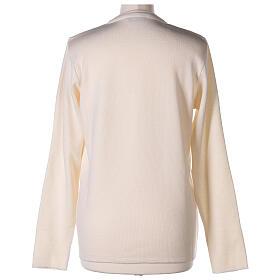 Rebeca monja blanco cuello V bolsillos punto unido 50% acrílico 50% lana merina In Primis s12