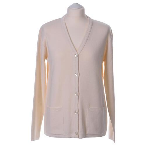 Rebeca monja blanco cuello V bolsillos punto unido 50% acrílico 50% lana merina In Primis 1