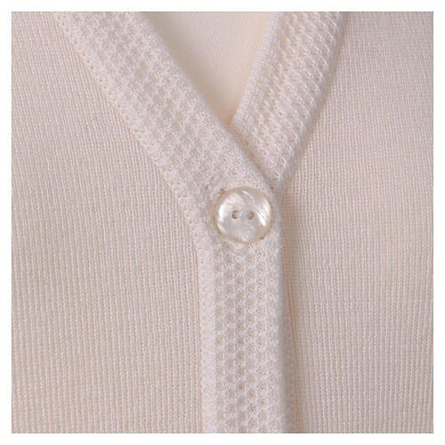 Rebeca monja blanco cuello V bolsillos punto unido 50% acrílico 50% lana merina In Primis 2