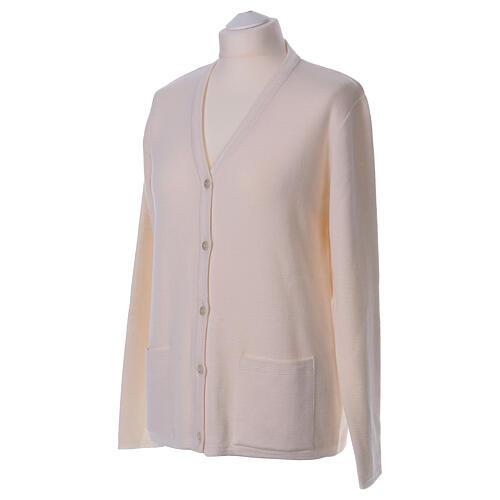 Rebeca monja blanco cuello V bolsillos punto unido 50% acrílico 50% lana merina In Primis 3