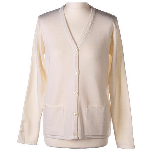 Rebeca monja blanco cuello V bolsillos punto unido 50% acrílico 50% lana merina In Primis 7