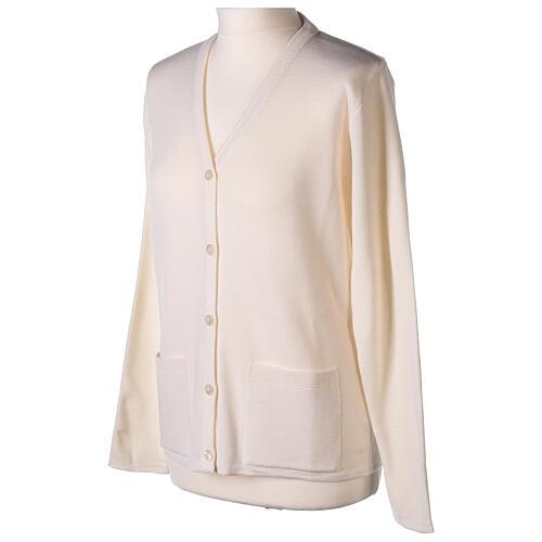 Rebeca monja blanco cuello V bolsillos punto unido 50% acrílico 50% lana merina In Primis 9