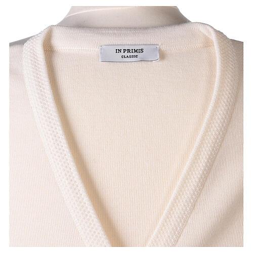 Rebeca monja blanco cuello V bolsillos punto unido 50% acrílico 50% lana merina In Primis 13