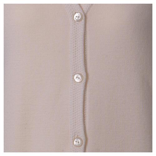 Cardigan soeur blanc col en V poches jersey 50% acrylique 50 laine mérinos In Primis 5