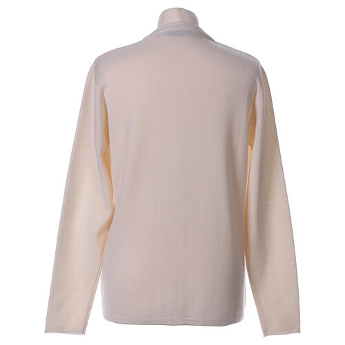 Cardigan soeur blanc col en V poches jersey 50% acrylique 50 laine mérinos In Primis 6