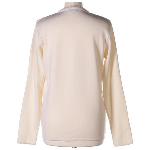 Cardigan soeur blanc col en V poches jersey 50% acrylique 50 laine mérinos In Primis 12