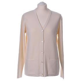 Cardigan suora bianco collo V tasche maglia unita 50% acrilico 50% lana merino  In Primis s1