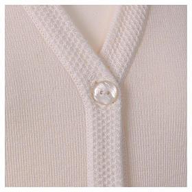 Cardigan suora bianco collo V tasche maglia unita 50% acrilico 50% lana merino  In Primis s2
