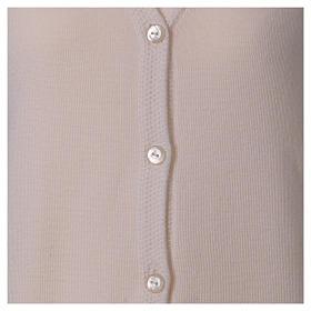 Cardigan suora bianco collo V tasche maglia unita 50% acrilico 50% lana merino  In Primis s5