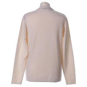 Cardigan suora bianco collo V tasche maglia unita 50% acrilico 50% lana merino  In Primis s6