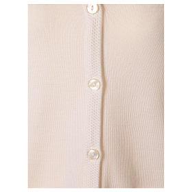 Cardigan suora bianco collo V tasche maglia unita 50% acrilico 50% lana merino  In Primis s10