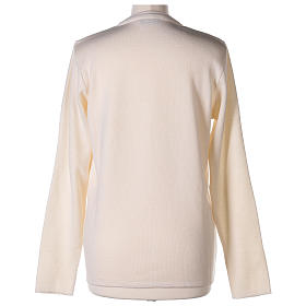 Cardigan suora bianco collo V tasche maglia unita 50% acrilico 50% lana merino  In Primis s12