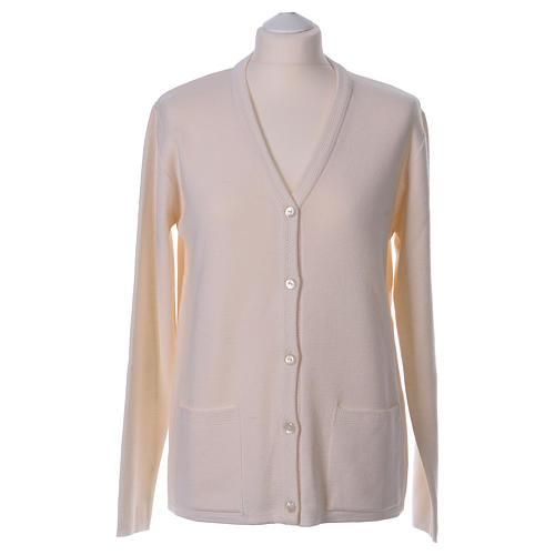 Cardigan suora bianco collo V tasche maglia unita 50% acrilico 50% lana merino  In Primis 1