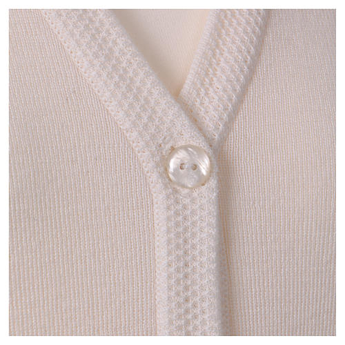Cardigan suora bianco collo V tasche maglia unita 50% acrilico 50% lana merino  In Primis 2