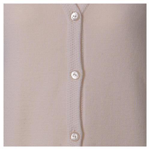 Cardigan suora bianco collo V tasche maglia unita 50% acrilico 50% lana merino  In Primis 5
