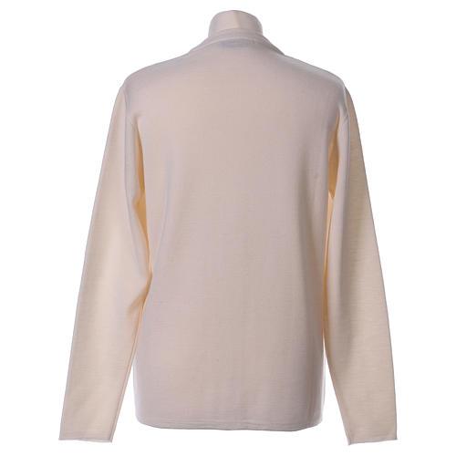 Cardigan suora bianco collo V tasche maglia unita 50% acrilico 50% lana merino  In Primis 6