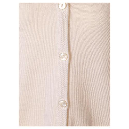 Cardigan suora bianco collo V tasche maglia unita 50% acrilico 50% lana merino  In Primis 10