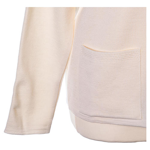 Cardigan suora bianco collo V tasche maglia unita 50% acrilico 50% lana merino  In Primis 11