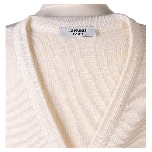 Cardigan suora bianco collo V tasche maglia unita 50% acrilico 50% lana merino  In Primis 13