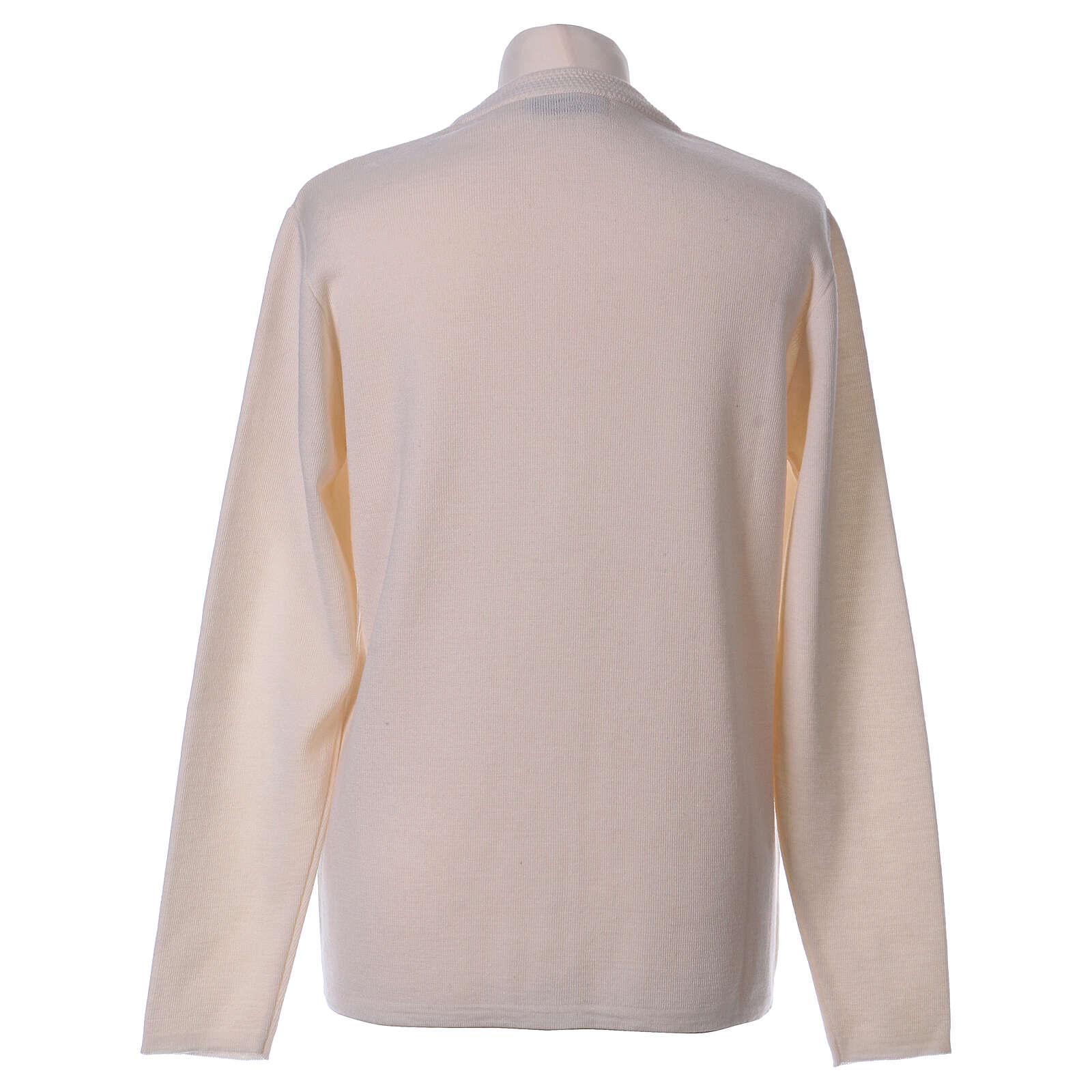 Casaco de malha branco decote em V para freira com bolsos, 50% acrílico e 50% lã de merino, linha