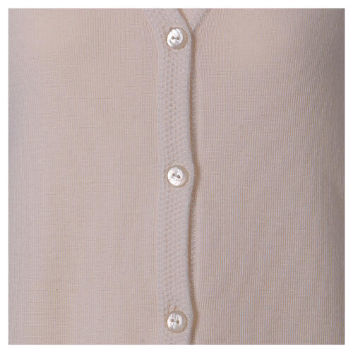 White V-neck nun cardigan with pockets 50% acrylic 50% merino wool In Primis 5