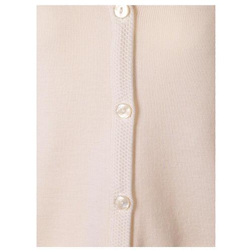 White V-neck nun cardigan with pockets 50% acrylic 50% merino wool In Primis 10