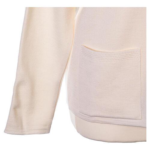 White V-neck nun cardigan with pockets 50% acrylic 50% merino wool In Primis 11