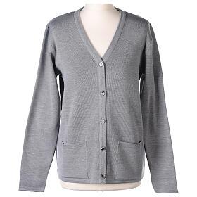 Cardigan soeur gris perle col en V poches jersey 50% acrylique 50 laine mérinos In Primis s1