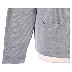 Cardigan soeur gris perle col en V poches jersey 50% acrylique 50 laine mérinos In Primis s5