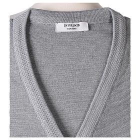 Cardigan soeur gris perle col en V poches jersey 50% acrylique 50 laine mérinos In Primis s7