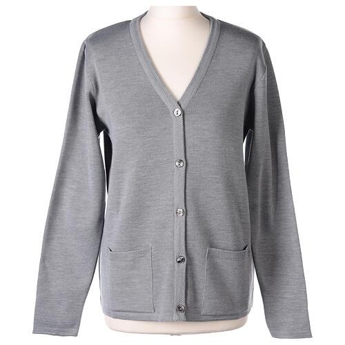Cardigan soeur gris perle col en V poches jersey 50% acrylique 50 laine mérinos In Primis 1