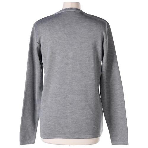 Cardigan soeur gris perle col en V poches jersey 50% acrylique 50 laine mérinos In Primis 6