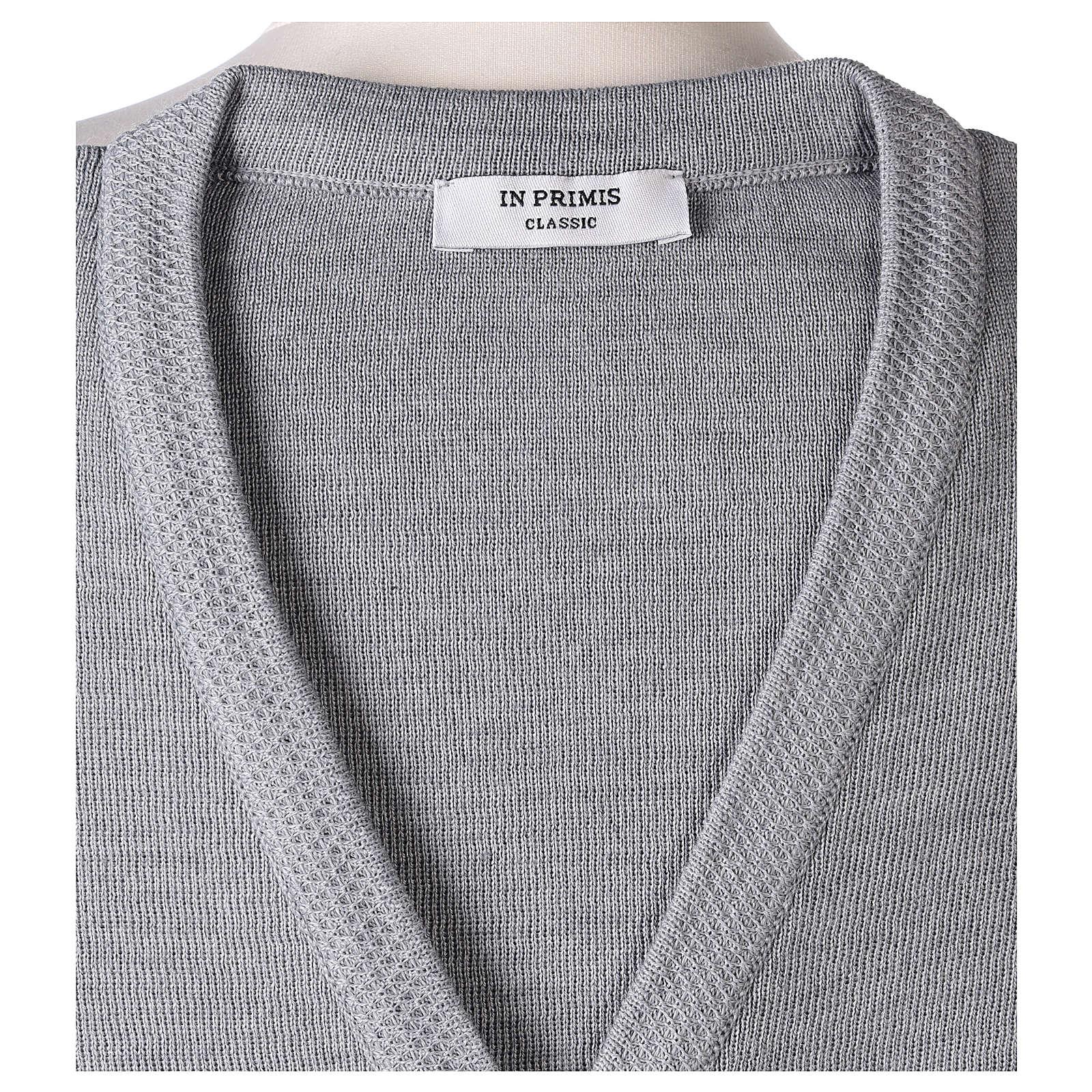 Cardigan suora grigio perla collo V tasche maglia unita 50% acrilico 50%  merino  In Primis 4