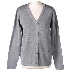 Cardigan suora grigio perla collo V tasche maglia unita 50% acrilico 50%  merino  In Primis s1