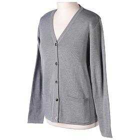 Cardigan suora grigio perla collo V tasche maglia unita 50% acrilico 50%  merino  In Primis s3