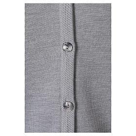 Cardigan suora grigio perla collo V tasche maglia unita 50% acrilico 50%  merino  In Primis s4