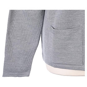 Cardigan suora grigio perla collo V tasche maglia unita 50% acrilico 50%  merino  In Primis s5