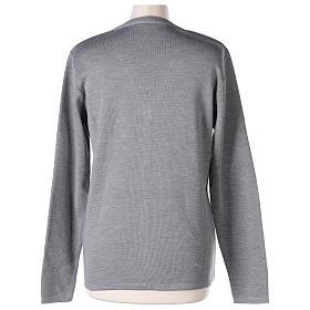 Cardigan suora grigio perla collo V tasche maglia unita 50% acrilico 50%  merino  In Primis s6