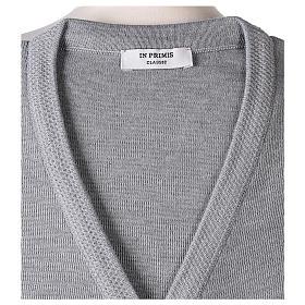 Cardigan suora grigio perla collo V tasche maglia unita 50% acrilico 50%  merino  In Primis s7