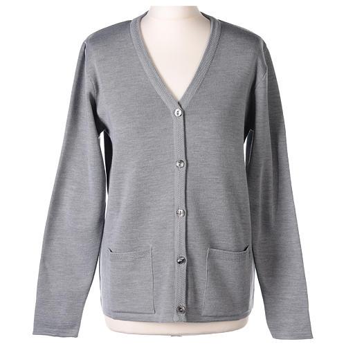Cardigan suora grigio perla collo V tasche maglia unita 50% acrilico 50%  merino  In Primis 1
