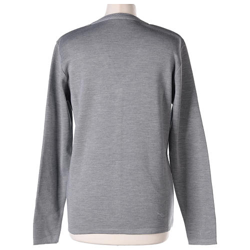 Cardigan suora grigio perla collo V tasche maglia unita 50% acrilico 50%  merino  In Primis 6