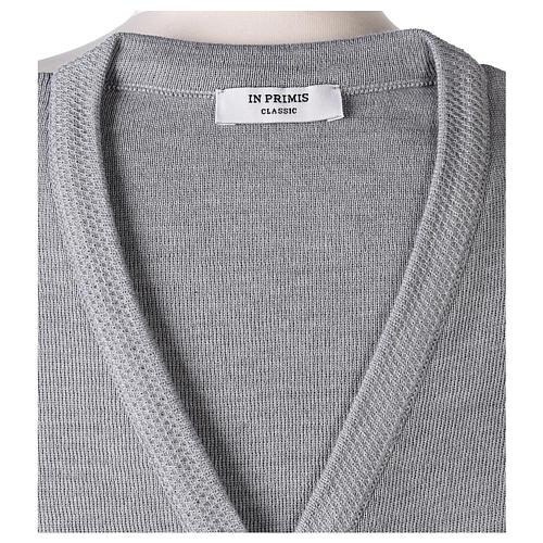 Cardigan suora grigio perla collo V tasche maglia unita 50% acrilico 50%  merino  In Primis 7