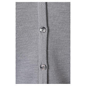 Grey V-neck nun cardigan with pockets 50% acrylic 50% merino wool In Primis s4