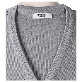 Grey V-neck nun cardigan with pockets 50% acrylic 50% merino wool In Primis s7