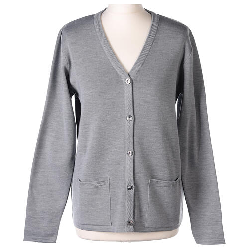 Grey V-neck nun cardigan with pockets 50% acrylic 50% merino wool In Primis 1